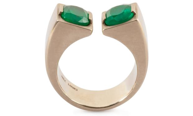 Twin emerald pinky ring in beige brushed 18ct gold, from £13,500