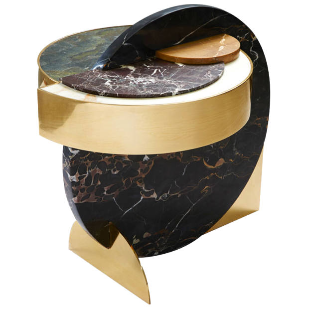 Lara Bohinc and Lapicida marble and brass Full Moonside table, £11,250