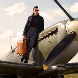 The Aerodrome collection, designed in collaboration with model David Gandy, is made mostly from leather – in the same material used in traditional pilots' flying jackets
