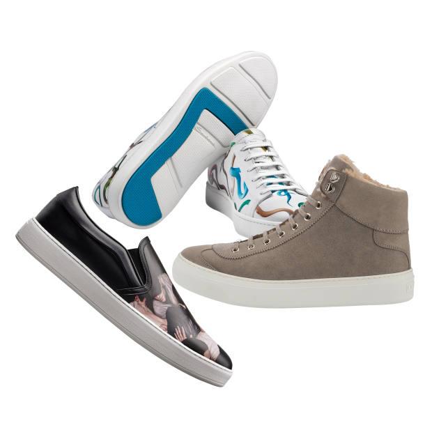d33234ebee9308 Clockwise from top  Santoni calfskin Garden of Eden sneakers