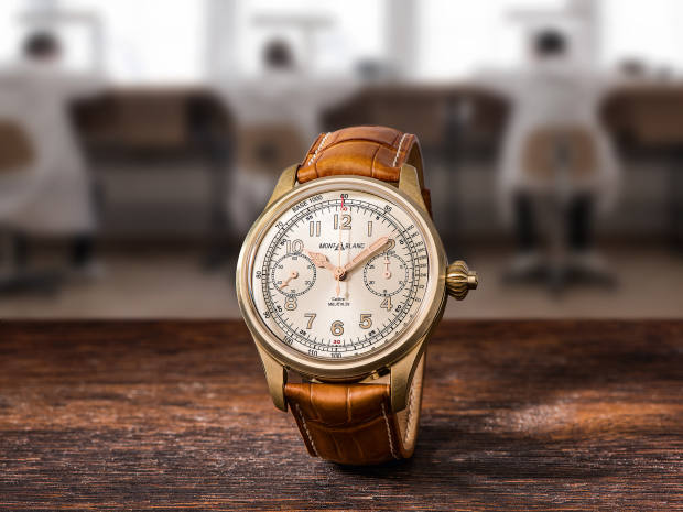 Montblanc red gold 1858 Chronograph Tachymeter on alligator strap, price on request