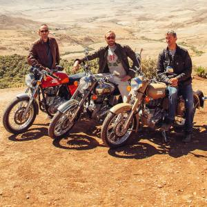 From left: guest rider Sam McConnell with Sam Pelly and Edward Talbot Adams of Legendary Motorcycle Adventures