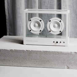 Aluminium and tempered-glass Transparent Speaker, £450 (small) and £900 (large)