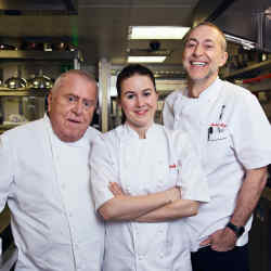 From left: chefs Albert Roux, Emily Roux and Michel Roux Jnr will devise the one-off dinner