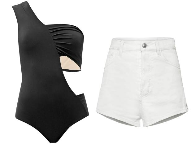Zeus + Dione swimsuit, £160, from matchesfashion.com. Redemption shorts, €215