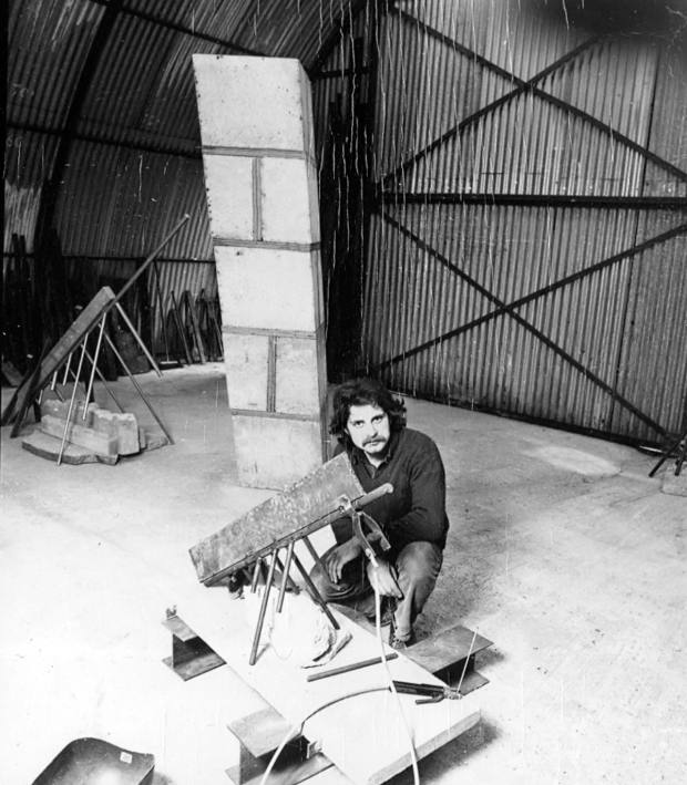 Lowe preparing for Spring Show I at the Serpentine Gallery in London, 1978