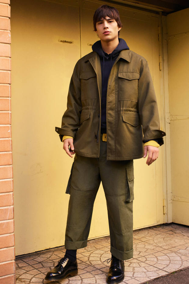 Ami cotton parka, £435, matching cargo pants, £235, and cotton field/work shirt, £300