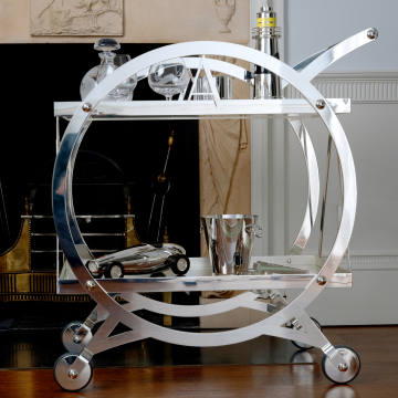 Asprey silver-plate and glass art deco cocktail trolley, price on request