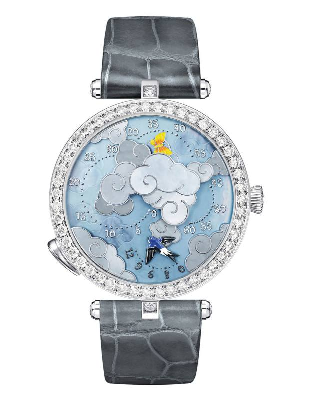 Van Cleef & Arpels white gold, diamond and mother-of-pearl Ronde des Papillons on alligator strap, £106,700
