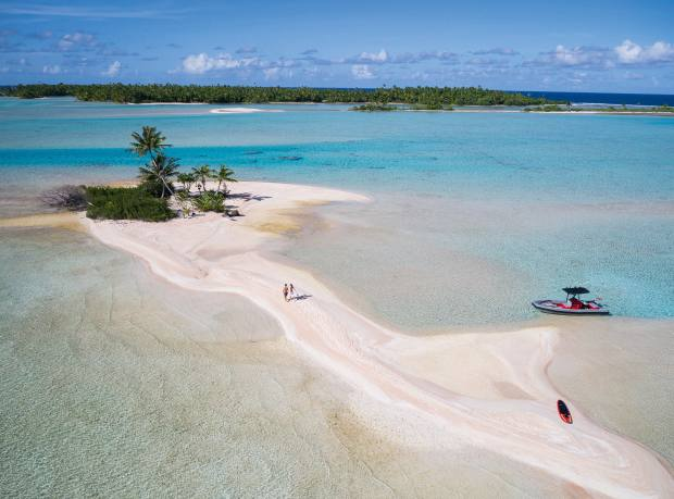 Senses' 7m Naiad Jet tender by an isolated Fakarava beach