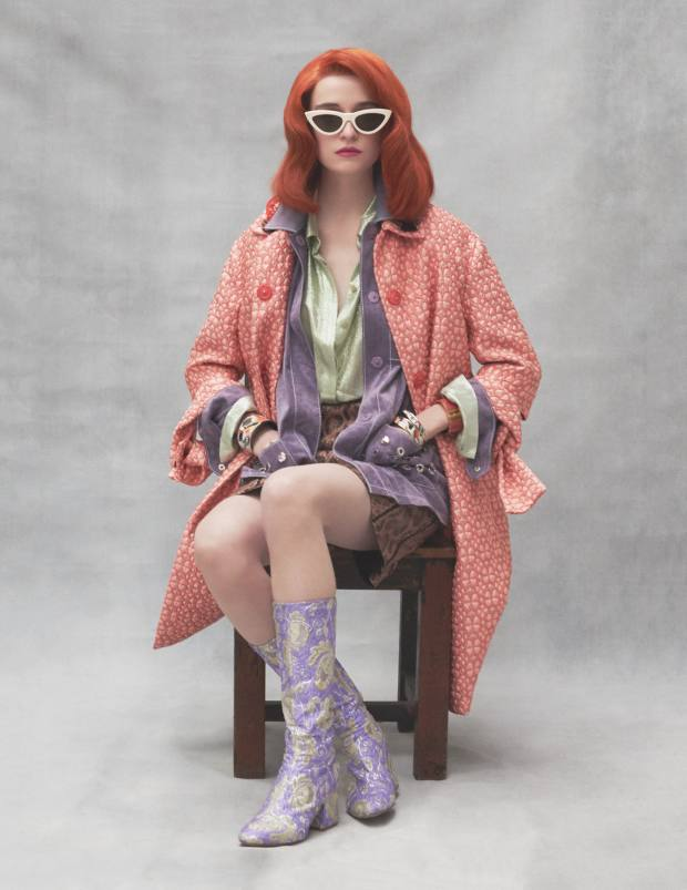 Anya Hindmarch brocade coat, £895. Bottega Veneta suede jacket, £4,410, and anaconda skirt, £2,575. Alberta Ferretti silk shirt, £650. Dries Van Noten polyester brocade and leather boots, £538. Céline sunglasses, £290. Right arm: Hermès enamel extra-large bracelet, £550. Left arm from top: Hermès enamel Charnière extra-large bracelet, £660, enamel small bracelet, £345, enamel large bracelet, £435
