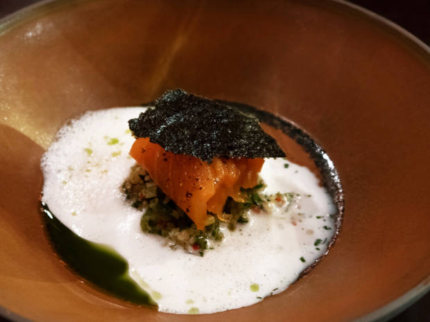 Salmon with quinoa, yuzu and miso from the Volts tasting menu, €72