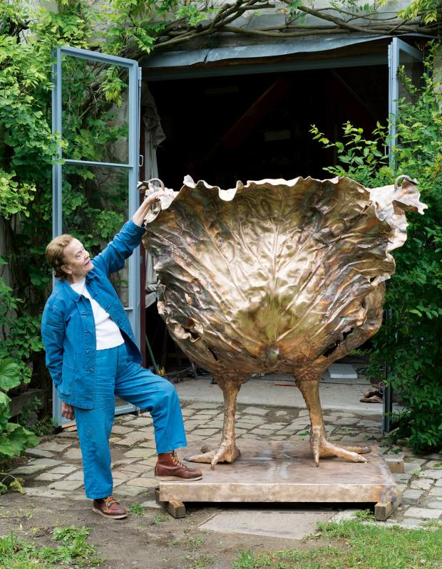 Claude Lalanne with her 2016 bronze Choupatte Géante, price on request, available at Ben Brown Fine Arts
