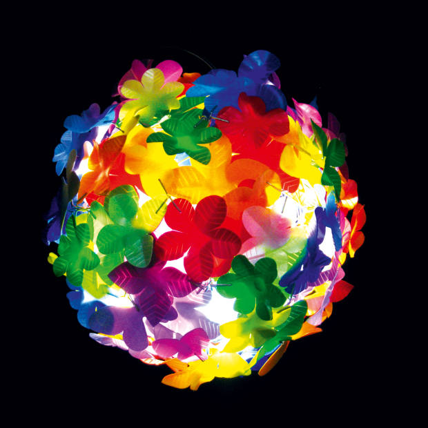 Flowerball lamp by Heath Nash in recycled plastic, about £343.