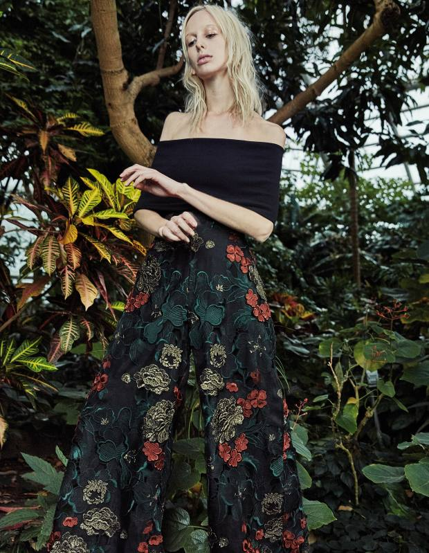 Rosetta Getty ottoman T-shirt, £320, and embroidered silk organza palazzo pants, £3,970