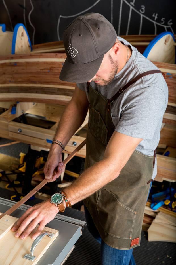 Boatmaker Trent Preszler at work in his Long Island studio
