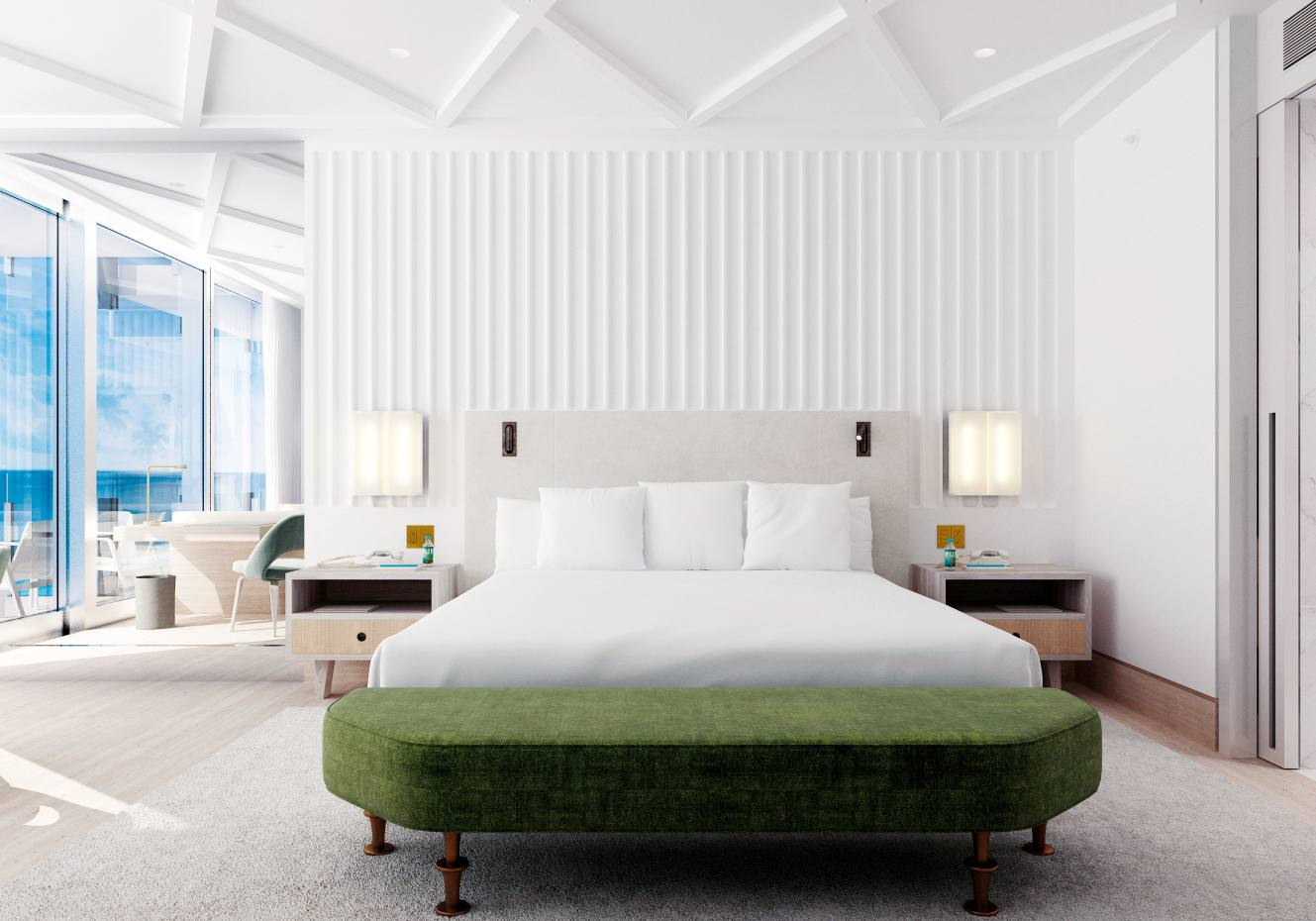 A bedroom atMiami Beach's reimagined Surf Club