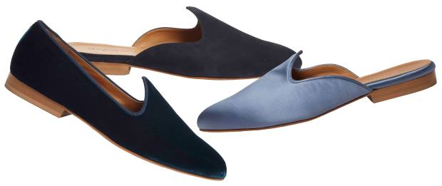 The velvet slipper in petrol blue and satin mule in Livid Blue – just a couple of examples from the rich spectrum of jewel shades available