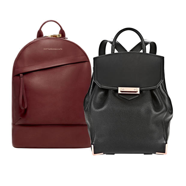 From left: Want Les Essentiels de la Vie leather Piper backpack, £695. Alexander Wang leather Prisma Skeletal backpack, £860
