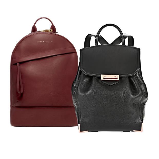 From left: Want Les Essentiels de la Vie leather Piper backpack, £695. Alexander Wang leather Prisma Skeletal backpack, £860