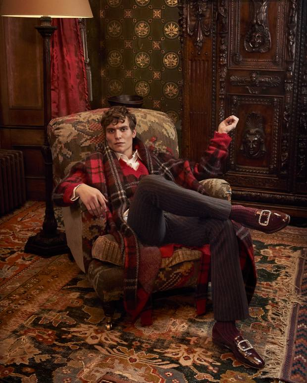 Alexander McQueen brushed mohair cardigan, £2,175, mohair vest, cotton broderie anglaise shirt, both price on request, and wool trousers, £850. London Sock Co cotton Shaken & Stirred socks, £14.Manolo Blahnik patent leather Mariocc shoes withcrystals, £725