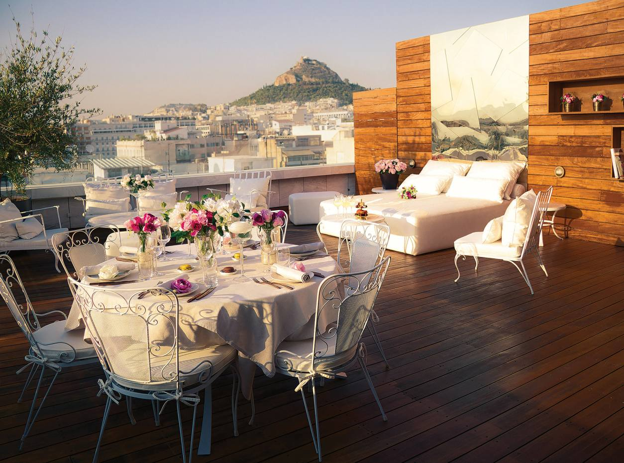 The terrace of the penthouse suite at the New Hotel Athens