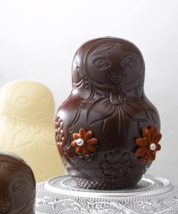Nina Métayer's made-to-order chocolate, mandarin, mango, spice and pecan matryoshka doll, €8.40 for a slice or €78 for an entirecake