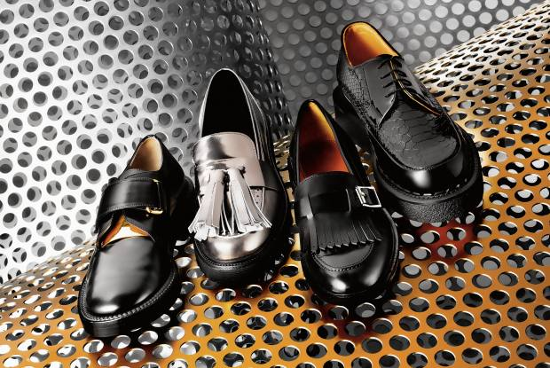 From left: Marni calfskin Derby, £490. MSGM tasselled patent-leather loafers, £360. Paul Smith leather Costello loafers, £300. Purified x George Cox patent-leather Creeper 1, £375