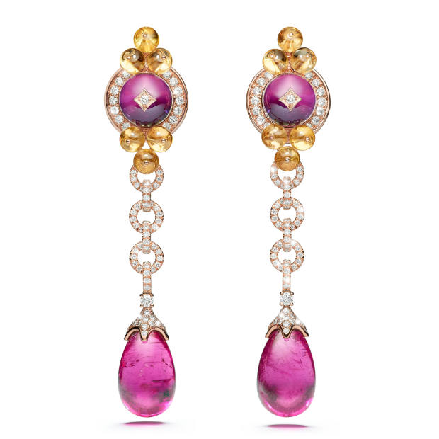 Barocco earrings with rubellite droplets, price on request