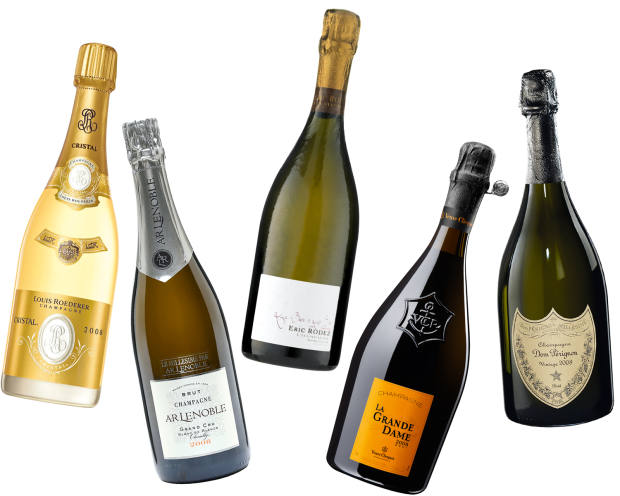 From far left: Louis Roederer Cristal, £279 from Berry Bros & Rudd. AR Lenoble Grand Cru Blanc de Blancs Chouilly, £63 from The Whisky Exchange. Eric Rodez Ambonnay Grand Cru Pinot Noir Les Beurys & Les Secs, £92 from Wine Source. Veuve Clicquot La Grande Dame, about £150 from Clos19. Dom Pérignon Champagne, £147 from Clos19