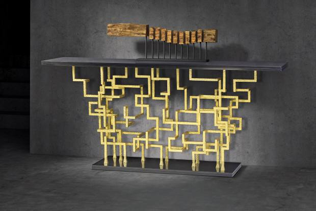 Decorus Furniture steel and marble Lazzaro console with 24ct gold-leaf finish, £7,600