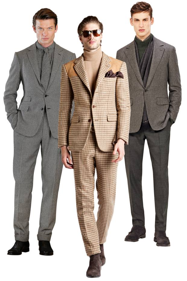 From left: Ralph Lauren Purple Label wool suit, £2,750, cashmere shirt, £565, and cashmere tie, £170. Cifonelli wool and suede jacket, £2,600, and matching trousers, £450. Canali wool/cashmere jacket, £1,010