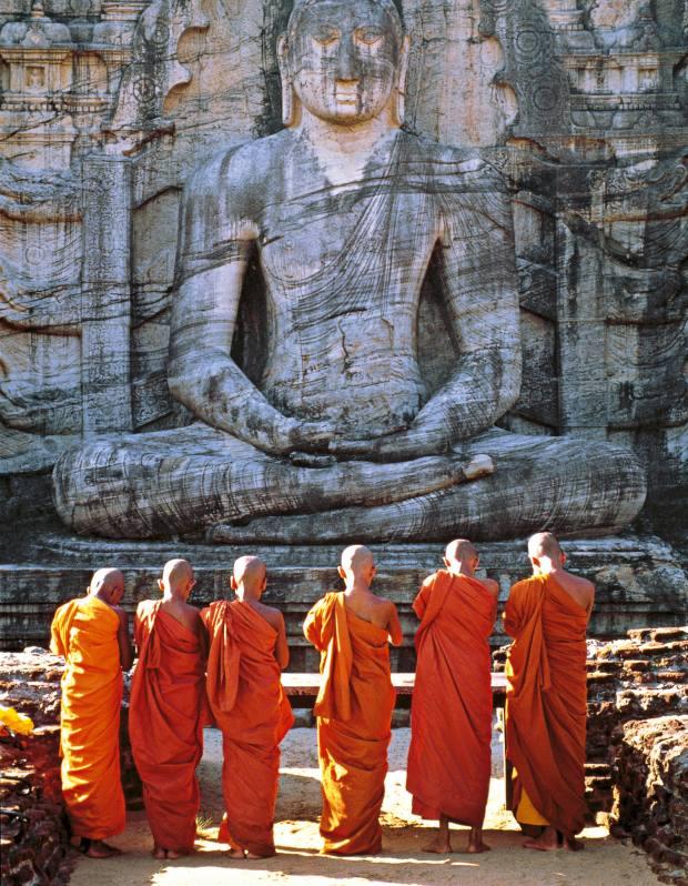 Buddhist monks at Polonnaruwa.