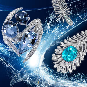 Clockwise from top left: Shaun Leane aquamarine, diamond and white gold Aurora ring, £9,200. Moussaieff tourmaline, diamond and titanium necklace, price on request. Stephen Webster tanzanite, aquamarine diamond and white gold Magnipheasant Plumage ring, £28,000. Kiki McDonough topaz and diamond Candy earrings, £1,900. Fernando Jorge chalcedony, diamond and white gold Fluid bracelet, £16,680. Pippa Small tanzanite, labradorite, kyanite and aquamarine Jellyfish drop earrings, £3,900