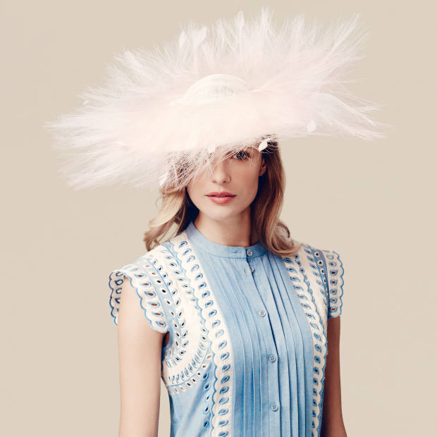 Hat - Stephen Jones for the Royal Ascot Millinery Collective, £1,380, avaliable at Fenwick - Dress - Temperley, £895