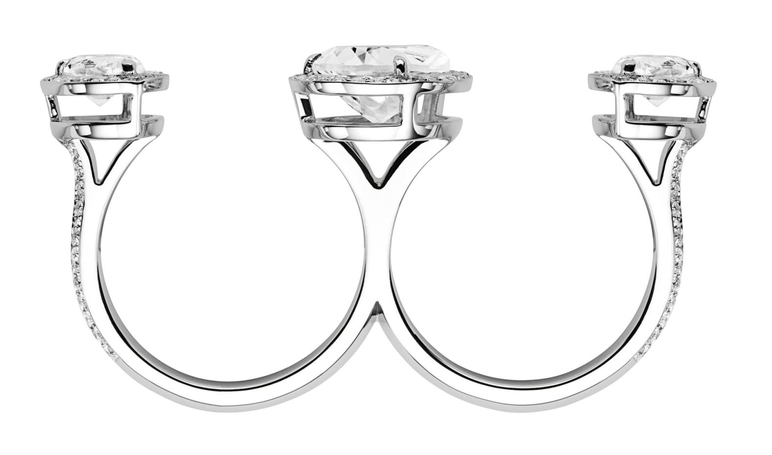 Atelier Swarovski by Penélope Cruz 18ct white-gold Lola Double Ring with three white topaz and Swarovski Created Diamonds surrounding the topaz and decorating the sides, £2,690