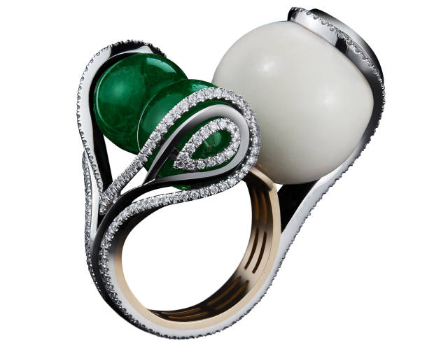Alexandra Mor emerald and diamond Wild Tagua-Seed Sphere ring, $29,500