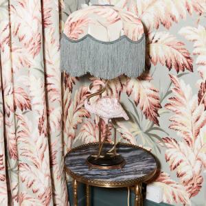 Pluma Tilia eau de nil lampshade, £375, and Flamingo lampstand, £545, both from houseofhackney.com