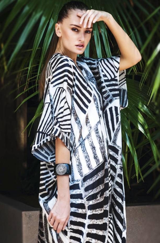 Marie France Van Damme silk Zebra Palms kaftan, £365.