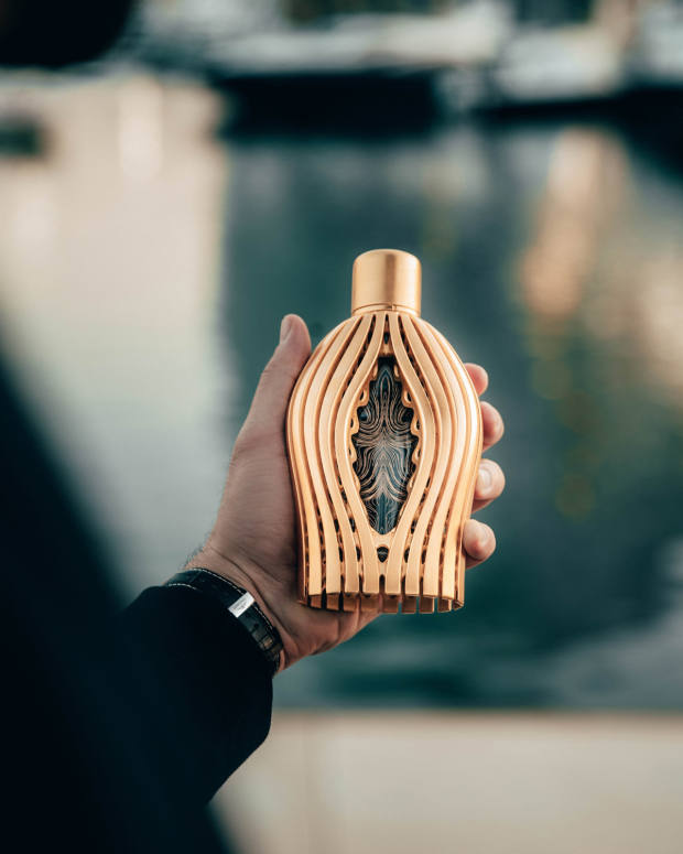 "The 3D-printed bottles are designed as an innovative ""exo-skeleton"" to interchangeably house each perfume"