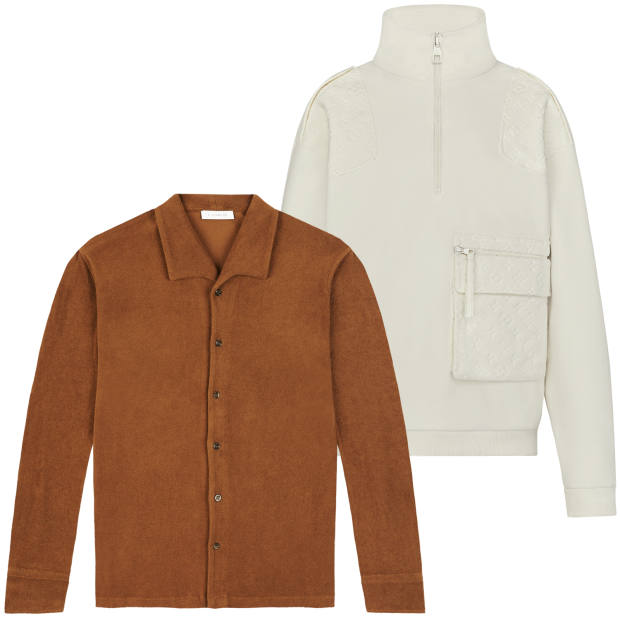 From top: Louis Vuitton cotton-velour top, £1,400. P Johnson cotton-towelling shirt, £170