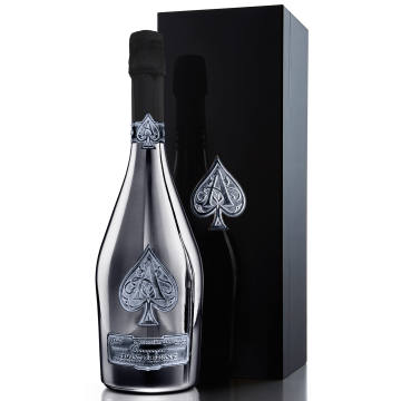 """Armand de Brignac Blanc de Noirs Assemblage Three (A3) champagne is presented in a custom-made silver metallised bottle within a black box embossed with its """"Ace of Spades"""" motif"""