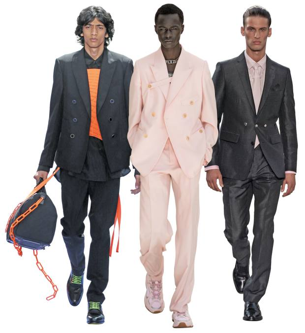From left: Louis Vuitton cotton-silk blazer, £2,150, mohair trousers, £710, and cotton/silk top, £1,300. Dior cashmere jacket, £3,400, and matching trousers, £1,600. Burberry linen/silk jacket, £1,490, matching trousers, £590, and cotton shirt and tie, £590