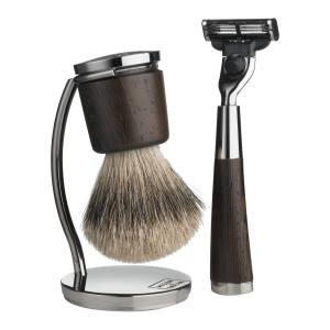 Acqua di Parma razor and brush set in burnished brass and wenge wood, with badger hair, £349