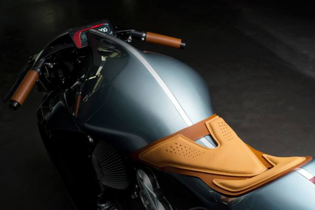 The leather detailing tempers the futuristic form of the motorcycle, which will be hand-built and delivered by the end of 2020