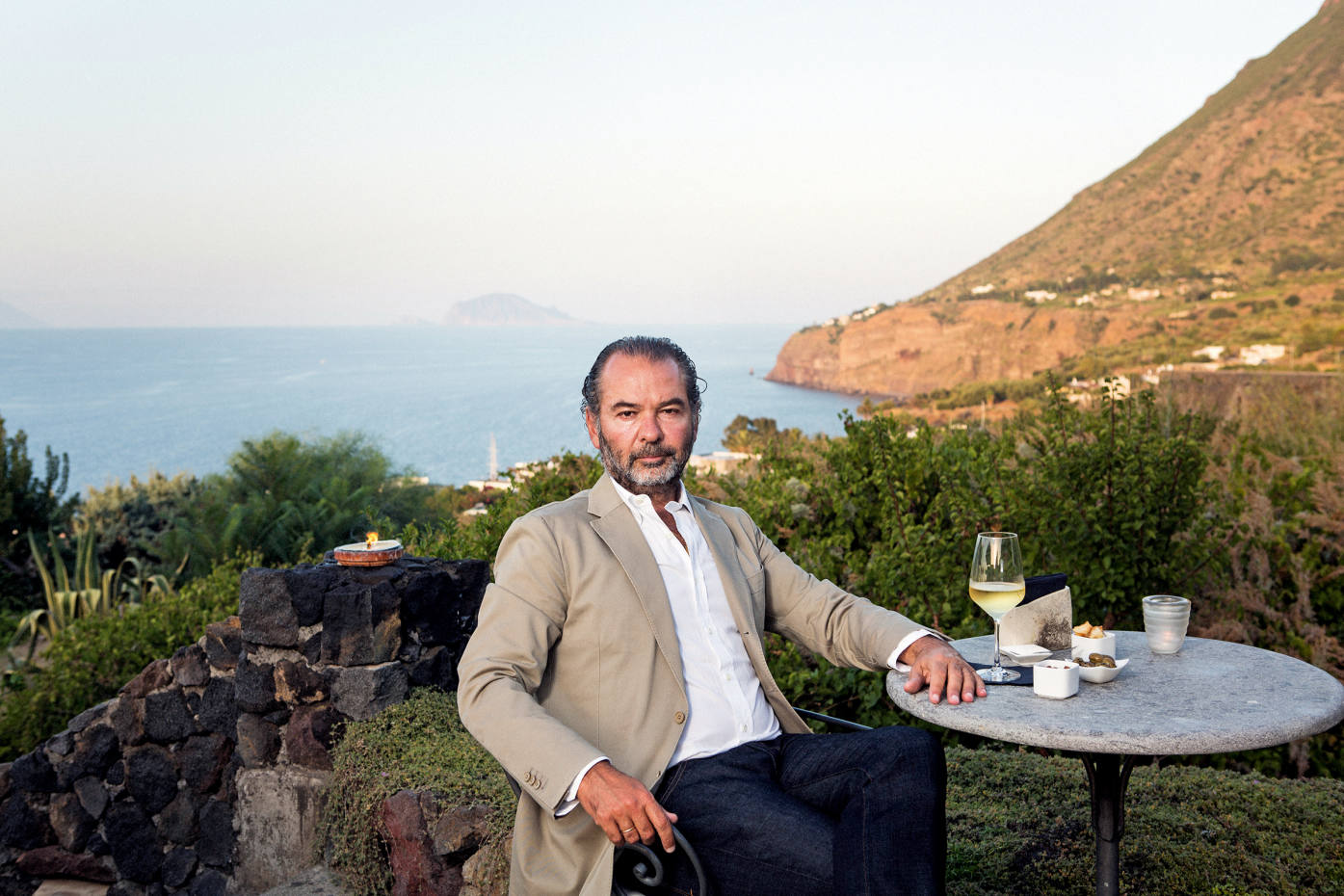 Remo Ruffini on the Hotel Signum terrace on the island of Salina