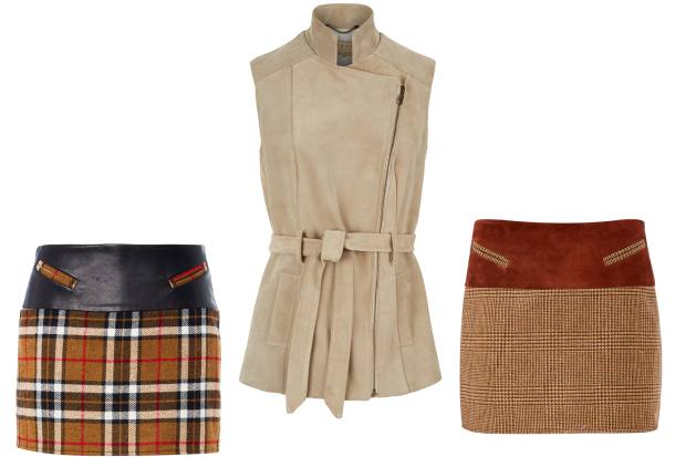 Holland Cooper tweed and leather or suede Tally Ho skirts, £99. Troy suede gilet, £480
