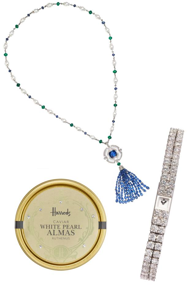 Clockwise from bottom left: White Pearl Almas caviar, £2,900 for 250g. Bulgari Secret Mirror necklace, price on request. Jaeger-LeCoultre 101 La Reine watch, £133,000
