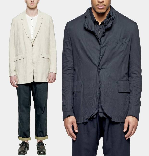 From left: 'T Ensemble appliquéd-linen jacket, $1,165. Elena Dawson cotton-cambric blazer, $2,170