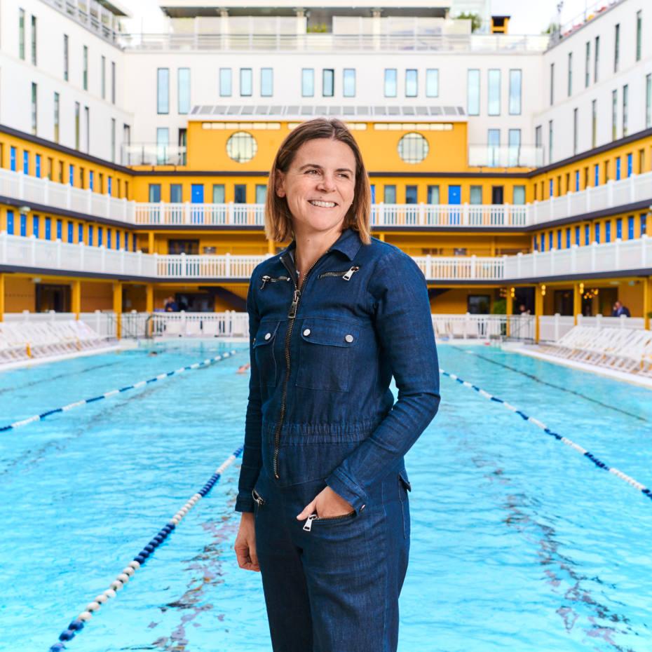 Diptyque's Myriam Badault at Hôtel Molitor's swimming pool
